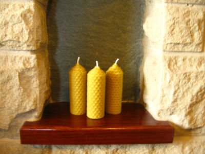 3 Handmade Pure Beeswax Lantern Candles 3.5in x 1.25in Dia (Free Shipping UK)